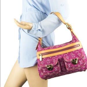 authentic  LOUIS VUITTON Pink Denim baggy pm